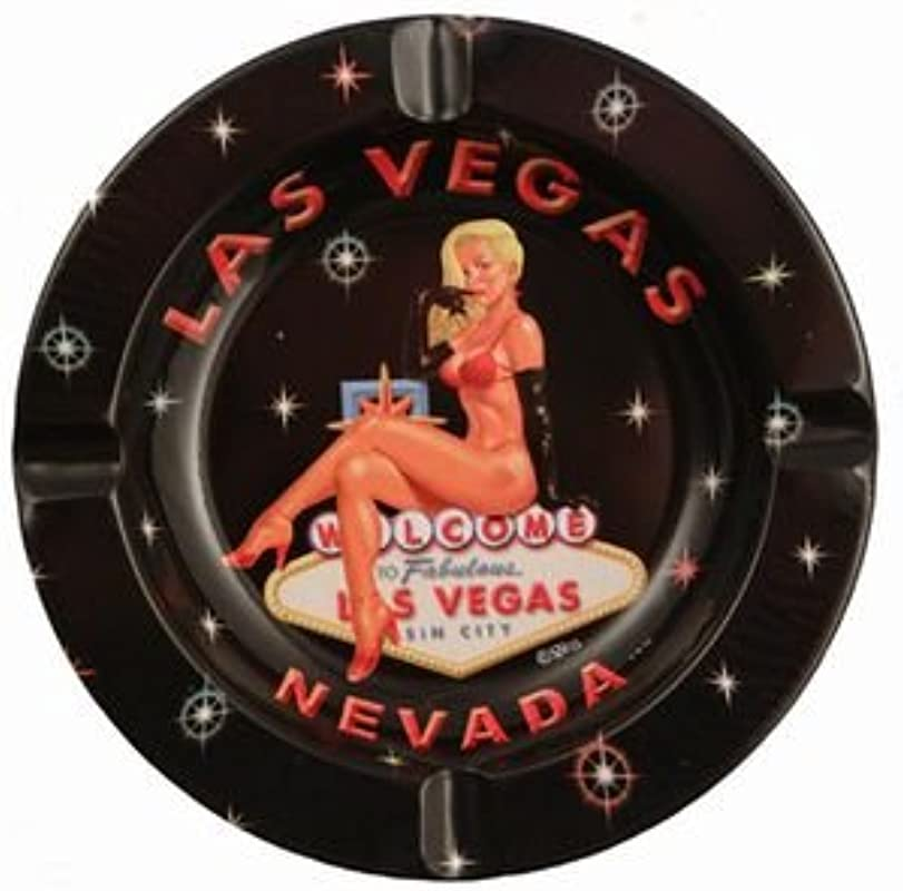 2 9 18 Las Vegas Ashtray Blonde Pin Up Round Tin 31058