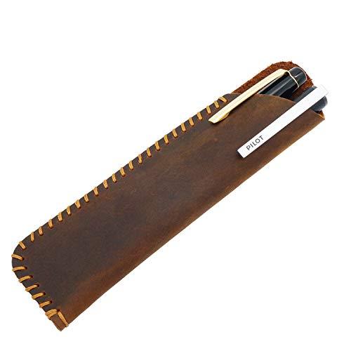 Funda de piel para pluma estilográfica estilo retro vintage, hecha a mano con piel «Crazy Horse»., color marrón