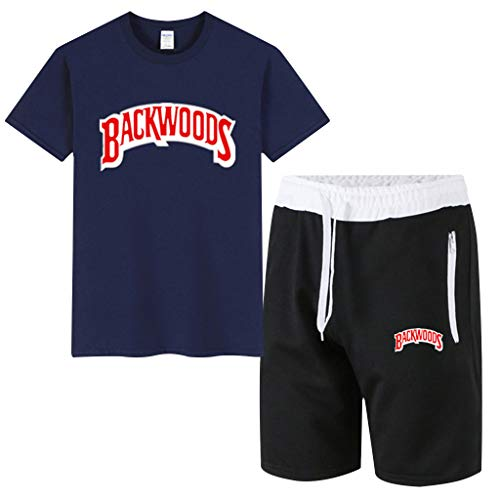 Backwoods Shirts Suit 3D Printed Cigar Beach Shorts for Women Men Shorts Tees Tops (Navy,XL)