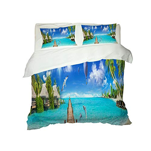 CJZYY 3D Duvet Cover Sea view Printed Bedding Duvet Cover with Zipper Closure,3 Pieces (1 Duvet Cover +2 Pillowcases) Ultra Soft Microfiber Bedding -Single 135 X 200 cm