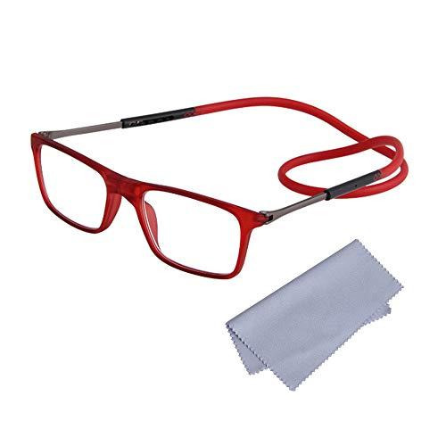 Gafas de Lectura Magnéticas Plegables para Hombre y Mujer +2.50(60-64 años) Presbicia Vista Montura Regulable Colgar del Cuello y Cierre con Imán, Rojo