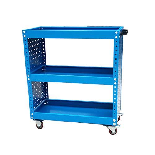 ZY Serving Trolley 3-stufiger Werkzeugwagen auf Rädern, Metallrollenarbeitsplatz, Werkstattwagen/Servicewagen, Werkstattgarage, DIY-Aufbewahrungsbox, Servicewagen für bis zu 150 kg