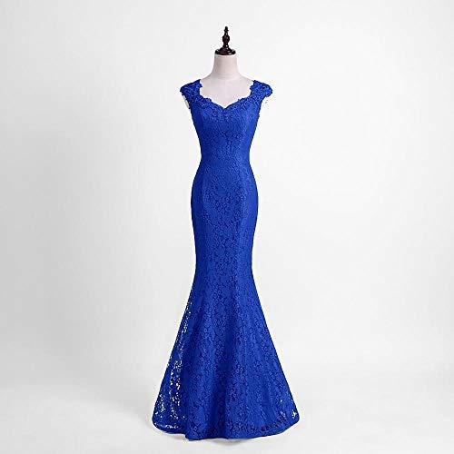 Kleider Elegante Perlen Lace langes Abendkleid Burgund Abendgesellschaft Kleider Abendkleid-Königsblau_14