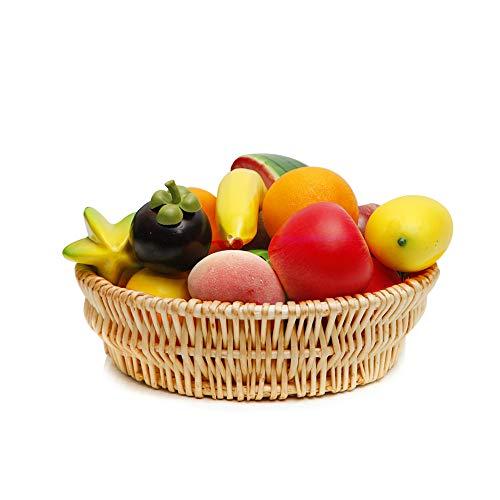 Natural Wicker Fruit Basket Bread Basket Tray Storage Basket Willow Woven Fruit Basket Bread Serving Basket, Round Shallow Basket(1Pack-M)