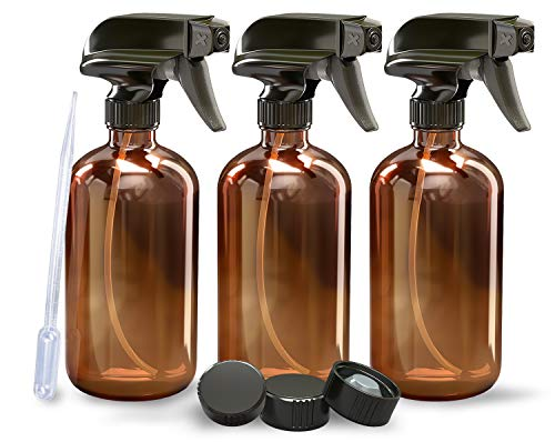 3 Pack - Refillable Empty Amber Glass Spray Bottles [Free Phenolic Cap and Pipette] for Cleaning Solutions, Hair, Essential Oils, Plants - Trigger Sprayer with Mist and Single Mode (16 OZ)