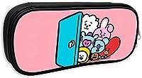 BT21 ペンケース 筆箱 多機能 大容量 文具収納 ペンケース ポーチ 旅行 ペンシルケース 化粧ポーチ 軽量 小学生 中学生 高校生 男女兼用鉛筆ケース ペン袋 ブラック