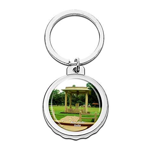 Hqiyaols Keychain India Gandhi Smriti Nuova Delhi Mini Apribottiglie Portachiavi Creativo Cristallo Acciaio Inossidabile Portachiavi Turismo Città Souvenir