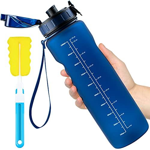 Leytn Botella Agua Deportes 1000ML, Botella de Agua Tritan Sin BPA Reutilizable con Filtro y Cepillo de Limpieza Marcador de Tiempo Botellas para Niños, Gimnasio, Yoga, Bicicletas - Azul Marino