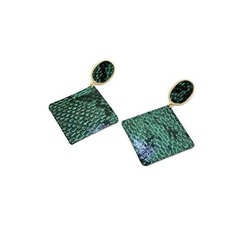 Pendientes bohemios para mujer de 7,5 cm de aleación de poliuretano verde geometría patrón bohemio para señoras pendientes de gota bohemios para mujer, estilo europeo y americano, 7.5CM, Zinc,