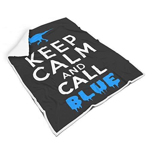 YxueSond Bleib ruhig und ruf blau an Tagesdecke Decke Anti-verfärben Reversible Warm Washable Decke White 150x200cm