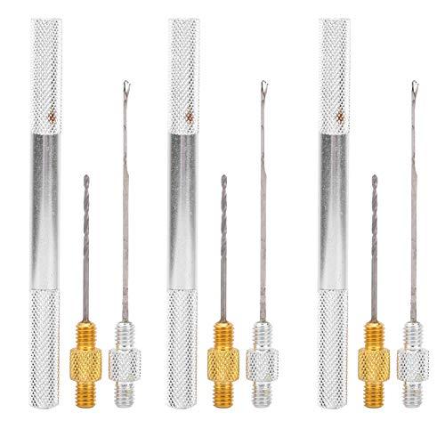 zhoul 3 Set 3 in 1 Fishing Rigging Combo Set, Aluminum Alloy Fishing Rigging Bait Needle Tool Fish Drill Kit (Silver)