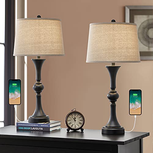 """Oneach Traditional Table Lamps Set of 2 with USB Charging Port for Living Room 29.25"""" Nightstand..."""