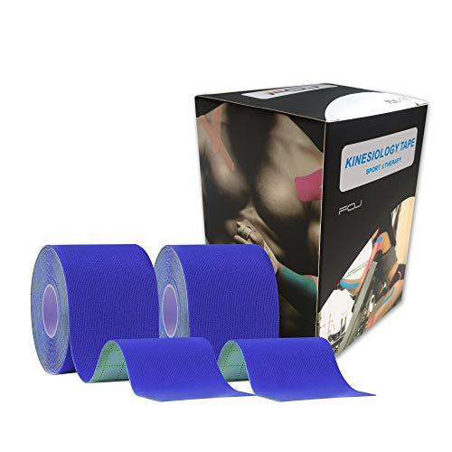 テーピングテープ キネシオ テープ 筋肉・関節をサポート 伸縮性強い 汗に強い パフォーマンスを高める 5cm×5m (ダークブルー)2巻入