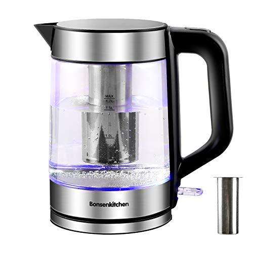 1.7L Glas Wasserkocher (BPA-frei), 2200W Elektrischer Teekanne mit Edelstahl Filter mit LED-Anzeigelampen, 360° Boden, Automatischem Abschaltschutz und Edelstahldeckel