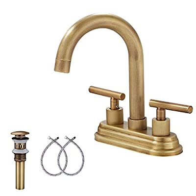 Antique Brass RV Bathroom Sink Faucet GGStudy 2-Handles 4 Inches Bathroom Faucet Bathroom Vanity Faucet with Drain Assembly and Supply Hose Lavatory Faucet Mixer Double Handle Tap Deck Mounted