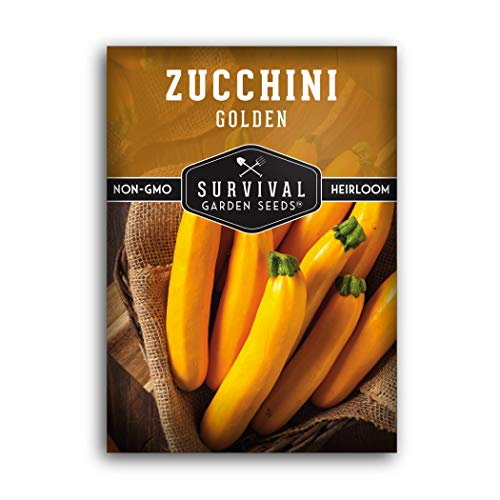 Survival Garden Seeds - Golden Zucchini Seeds for Planting - Packet with Instructions Packet with Instructions to Plant and Grow in Your Home Vegetable Garden - Non-GMO Heirloom Variety