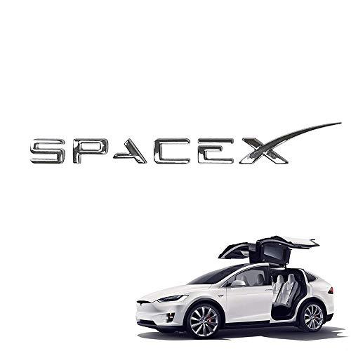 SPACEX 3D Metall Auto Heckklappe Emblem Aufkleber Dekoratives Zubehör für Model 3 Model S Model X