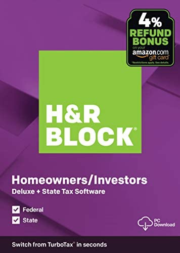 OLD VERSION H R Block Tax Software Deluxe State 2019 Amazon Exclusive PC Download product image