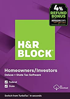 H&R Block Tax Software Deluxe + State 2019 with 4% Refund Bonus Offer [Amazon Exclusive] [PC Download] (B07YH24MYL)   Amazon price tracker / tracking, Amazon price history charts, Amazon price watches, Amazon price drop alerts