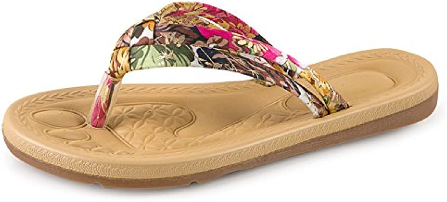 WYMBS Women's Slippers & Flip-Flops Spring   Summer   Fall shoes Pearl Casual Rhinestone slippers,red,37