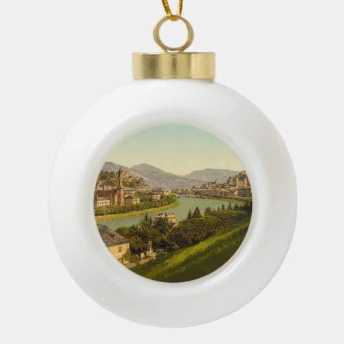 Traasd11an Adorno para árbol de Navidad, con vista general de Salzburgo, austria, bola de cerámica, adorno de Navidad, regalo