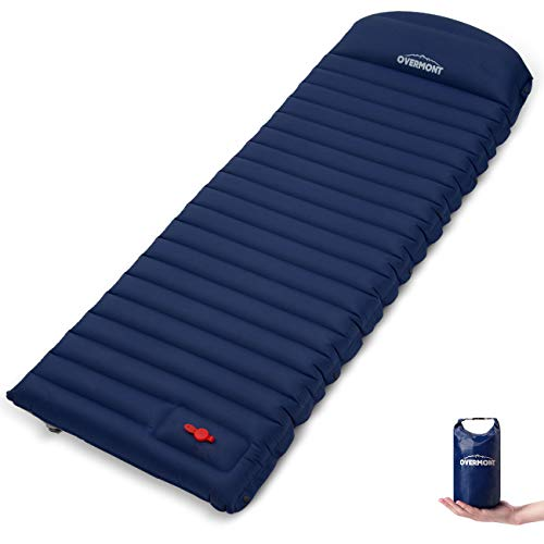 Overmont Camping Isomatte Selbstaufblasbare Luftmatratze mit Kissen für Oudoor Reisen Zelte Strand Wanderungen Backpacking Dunkelblau/Grün