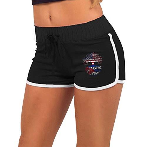 longing-été Femmes alluringy Mini Shorts Cultivé Cuba Racines Torse Silhouette Sport Athlétique Pantalon d'exercice - Noir - X-Large