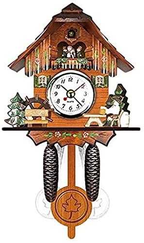 Orologio da parete a cucù in legno antico orologio da parete Bell Bell Swing Alarm Watch Home Art Decor 12x23x5cm