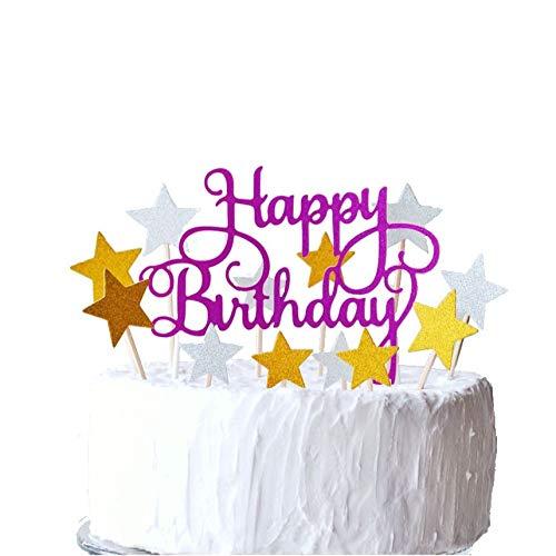 Happy Birthday + スター ケーキトッパー グリッター 誕生日 ケーキ トッパー バースデー お誕生日 デコレーション 記念写真 写真撮影 (ピンク)