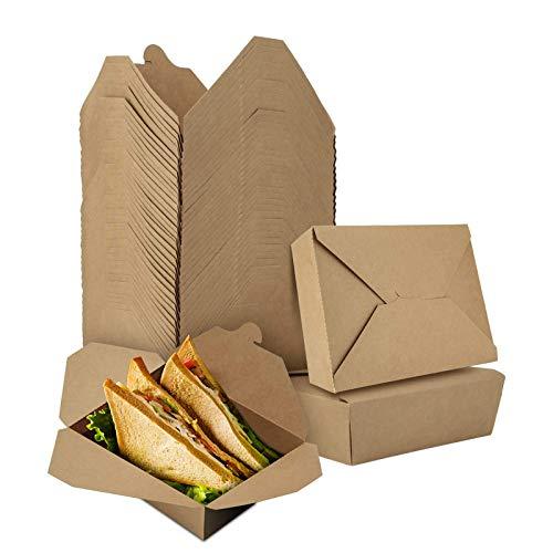 LOMOFI Take Away Box 71oz Einwegschachteln Kraftkarton Food Boxen,40 Stück Auslaufsicher Anti-Fett Lebensmittelbox mit Faltdecke,Kartonschachtel für Verschiedene Lebensmittel, Reis, Salate, Nudeln