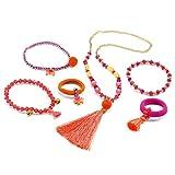Djeco Schmuckset Halskette Armbänder und Ringe in Aufbewahrungsbox 6 teilig pink orange Mädchen Girls Prinzessin Modeschmuck Schmuckstücke ab 5 Jahren