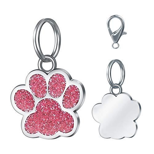 LAOKEAI Personalisiert Haustier ID Tag, Hundemarke mit Gravur aus Legierung, Adresse und Telefonnummer Prickelnde Haustier Marke für Hunde und Katzen(Rosa)