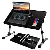 Adjustable Lap Desk with Cooling Fan, Proglobe Lapdesk with Fans, Laptop Stand with Adjustable Height, Bed TV Tray, Foldable & Portable Computer Table, Work from Home Accessories (20X12)