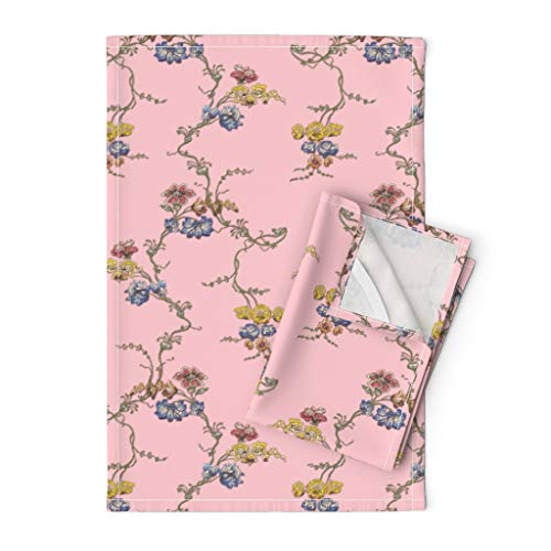 Roostery Tea Towels, Georgian Historical Pink Reproduction Floral Print, Linen Cotton Tea Towels, Set of 2