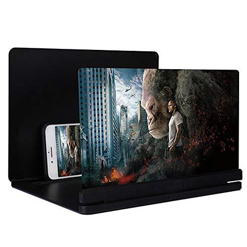 Volwco Smartphone-Vergrößerung, 30,5 cm (12 Zoll) ultradünner Bildschirmverstärker, Handy-3D HD Film-Beamer, Verstärker mit Faltbarer Halterung für alle Smartphones – Strahlungsschutz Schwarz