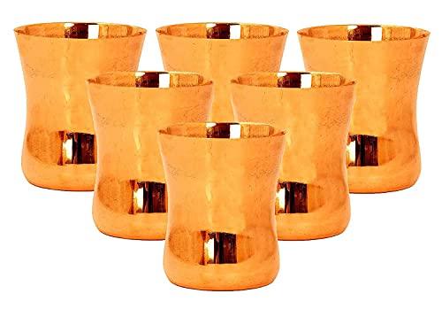 Evercrafting Vaso, Vaso y Vajilla, Vaso y Vaso de Cobre Plano Curvado, Yoga Ayurveda, 300 Ml, Juego de 6