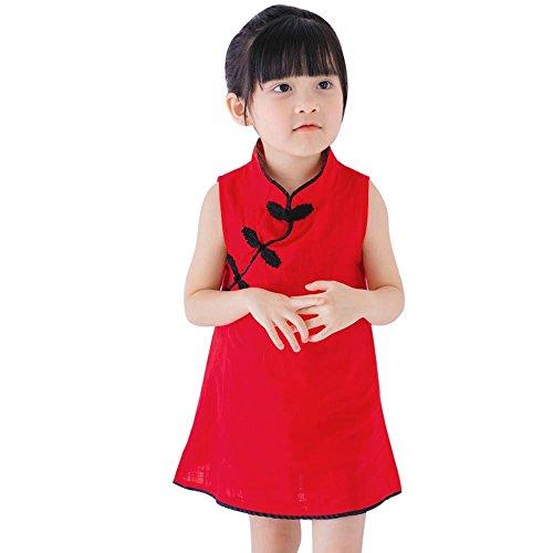 YWLINK Kleinkind MäDchen Chinesisches Qipao Kleid Sommer Prinzessin Kleid ÄRmellos A Line Kinder Baby Party Hochzeit(Rot,130)