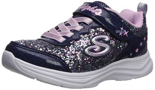Skechers Girls' Glimmer Kicks N' Glow Trainers, Blue (Navy & Multi Rock Glitter/Lavender & Lt Pink Trim Nvlv), 3 (36 EU)