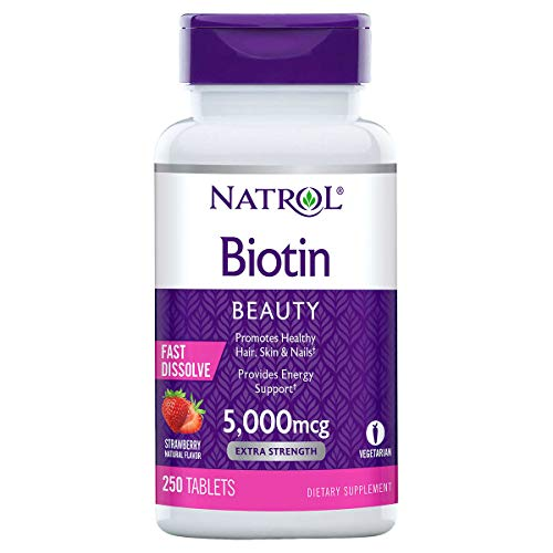 Natrol Biotin 5000 mcg, Strawberry Flavor, Fast Dissolve Tablets,...