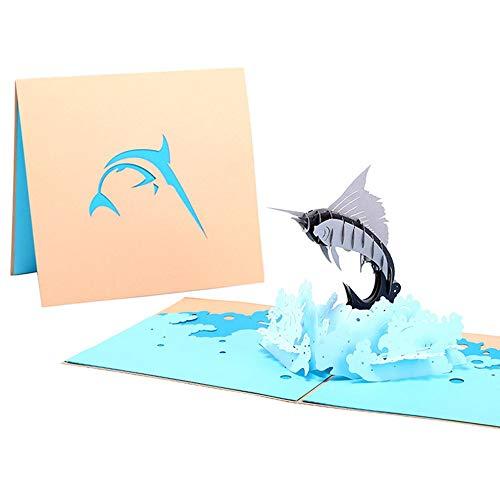 #N/V Tarjetas de felicitación 3D Pop Up Sailfish sobre tarjeta postal de cumpleaños, Navidad, día de San Valentín, fiesta, boda, decoración para todas las ocasiones
