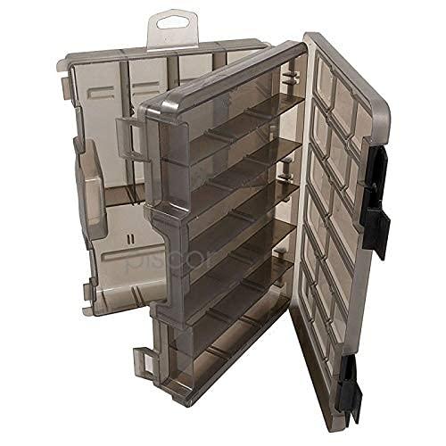 Lineaeffe Boîte en Plastique 2 Couvercles 28 x 18 x 7 cm Boîte de Pêche Rangement Accessoire Leurre Hameçon Compartiment Plastique