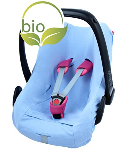 ByBoom - Sommerbezug, Schonbezug für Babyschale aus 100% BIO-Baumwolle, Universal für z.B. Maxi-Cosi, CabrioFix, Pebble, City SPS, Farbe:Blau