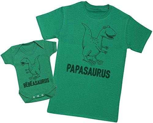 Zarlivia Clothing Bébéasaurus & Papasaurus - Ensemble Père Bébé Cadeau - Hommes T-Shirt & Body bébé - Vert - M & 0-3 Mois