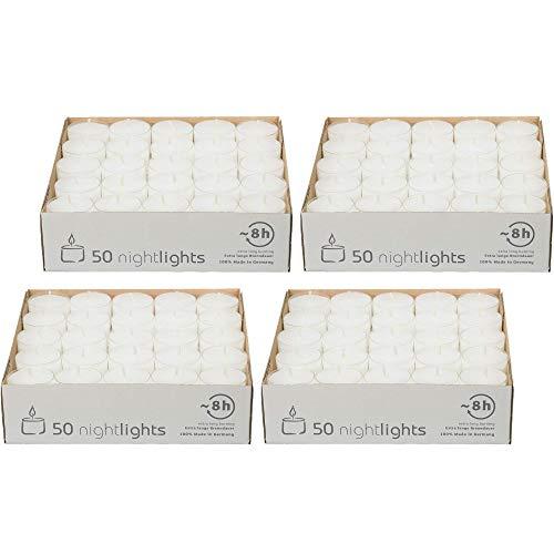 safe candle Nightlights Teelichte, transparente Polycarbonathülle, 8 Std. Brenndauer (4x50 Stück)