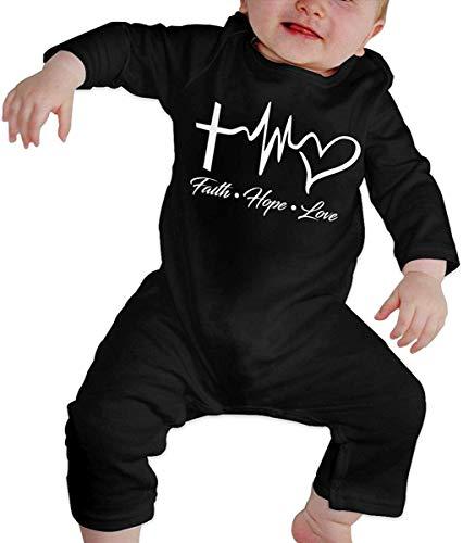 Unisex Faith Hope Love Bebé recién Nacido 6-24 Meses Ropa de Escalada para bebés Ropa de Manga Larga para bebés Monos Negros Monos para bebés Mameluco de bebé
