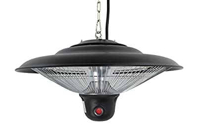 Hiland HIL-PHE-1500BR Electric Gazebo Indoor/Outdoor Heater with LED/Remote, 1500 Watts, Large, Black