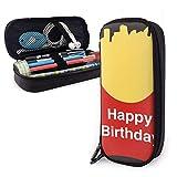 Astuccio per matite in pelle PU con patatine fritte di buon compleanno, organizer per cancelleria per studenti durevoli per ufficio scolastico 1,5 x 3,5 x 8 pollici