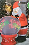 9 FT Animated Santa with Naughty or Nice Snow Globe Inflatable with Glowing Images
