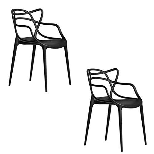 WTDlove Set Von 2 Stühlen Metallrahmen Gewebte Art Indoor Outdoor Modern Retro Dining Garden Stapelbare Stühle(Color:schwarz)