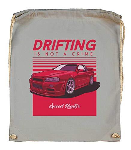 Druckerlebnis24 Turnbeutel - Drifting is Not Crime - Stoffbeutel aus Bio Baumwolle